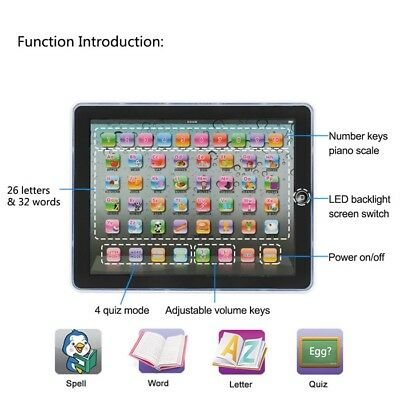 Baby Tablet Educational Kids Toys Tablet 1-6 Years Toddler Learning English Gift