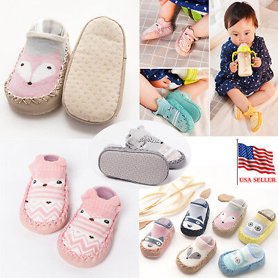 Baby Boy Kids Girl Moccasins Non-Slip Indoor Slippers Thick Socks Age 0-18 month