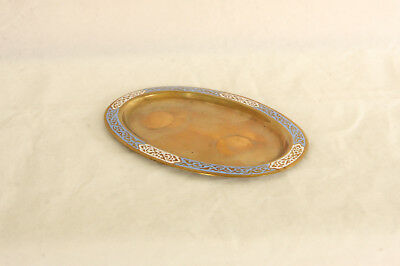Vintage Oval Brass Or Bronze Metal Blue & White Champlevé Enamel Tray
