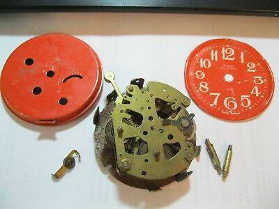 Antique Linden Black Forest Clock Movement Alarm Parts Repair~Made West Germany