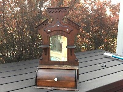 Antique Victorian shaving mirror,with roll top drawer,