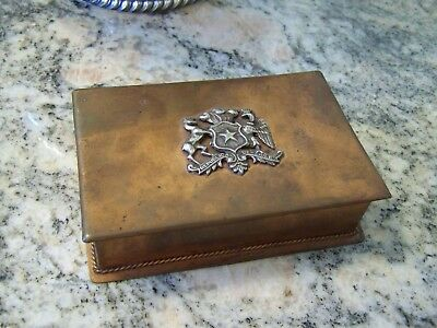 Old Sheffield English Art Deco Era Fancy Silver Crest On Copper Trinket Box