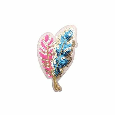 Pink Blue Sequin Feather (Iron On) Embroidery Applique Patch Sew Iron Badge