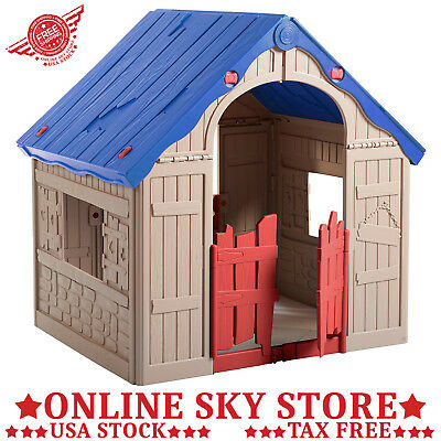 INDOOR OUTDOOR FOLDING Kids Playhouse Plastic Play House Toy Toddler ...