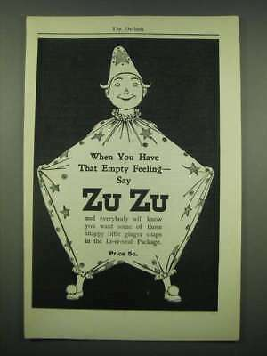 1902 Nabisco Zu Zu Ginger Snaps Ad - When you have that empty feeling