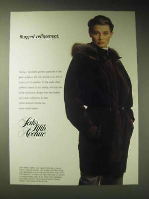 1989 Saks Fifth Avenue Brown Calfsuede Anorak Ad - Rugged Refinement