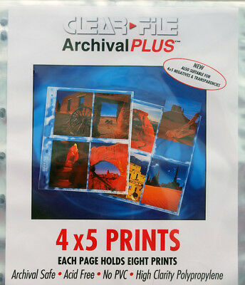Clear File Archival Plus 4 x 5 Print/Negative Pages x 25