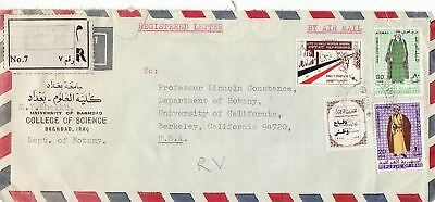 1969 Iraq #343,#447,#C21,#RA14 on Reg Cover to Berkeley CA; Costumes topical *d