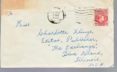1947 Nigeria #66 on Cover, Lagos to US; Very Scarce Used *d