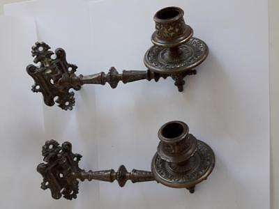 Antique Art Deco Solid Brass Bronze Piano Wall Sconce Candle Holders - pair