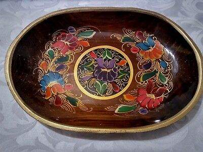 Vintage Russian Wood Hand Painted Floral Oval Tray
