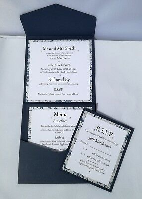 10 x HANDMADE PERSONALISED NAVY AND PEARL DESIGN POCKETFOLD WEDDING INVITATIONS