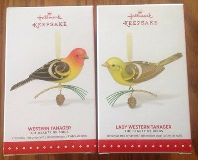 2015 Hallmark WESTERN & LADY TANAGER Beauty of Birds Limited Edition Ornament