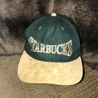 Starbucks Coffee Suede And Wool Strapback Hat Cap  Embroidered