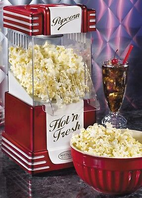 Salco NOSTALGIA Machine à Popcorn Retro avec boîtier transparent à pop corn