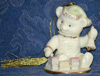LENOX China Teddy Bear TEDDY'S MILLENNIUM WISH 2000 Porcelain CHRISTMAS ORNAMENT
