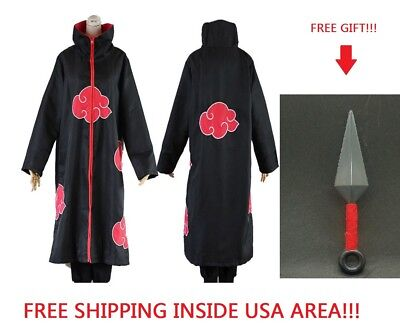 NARUTO Akatsuki Cosplay Costume Ninja Wind Coat Uniform Halloween XL or XXL