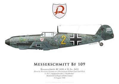 Print Messerschmitt Bf 109E-4, Helmut Wick, JG 2, Battle of Britain (by G.Marie)