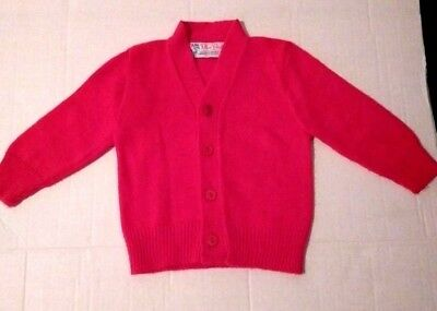 Vintage Blue Bird 100% Orlon Acrylic Red Button Sweater Made in USA