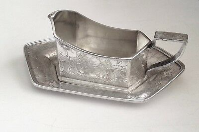 Silverplate Weidlich Bros Sauce Boat & Underplate -  Acid Etched Pat. TAPESTRY