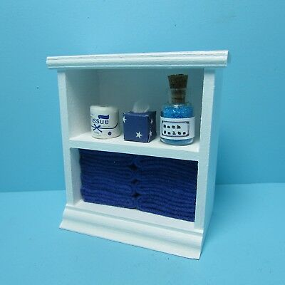 Dollhouse Miniature Small Bathroom Cabinet with Accessories in Lt Green ~ SH0014
