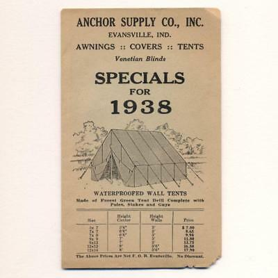 OLD VINTAGE 1938 ANCHOR SUPPLY CO Evansville INDIANA TENTS Camping Supplies ETC.