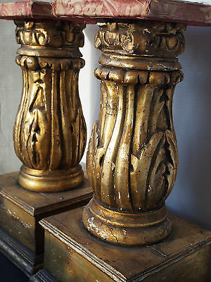 "2 Antique Gold Leaf Carved Wood Pedestal Column Corbel 20""~Table Salvage? 1800s"