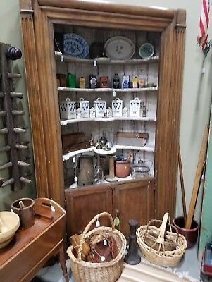 Antique Barrel Back Cupboard,  Corner Hutch Cabinet, Federal Period circa 1770