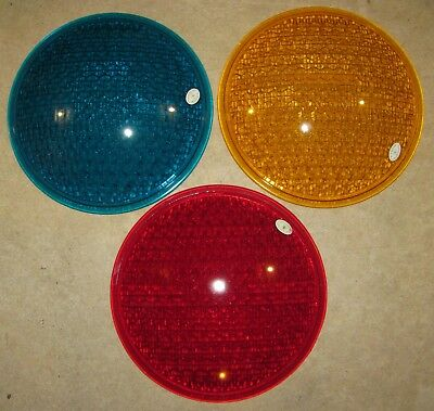 "8"" Glass Traffic Signal Light lens 1 Set of Red, Yellow and Green KOPP Glass"
