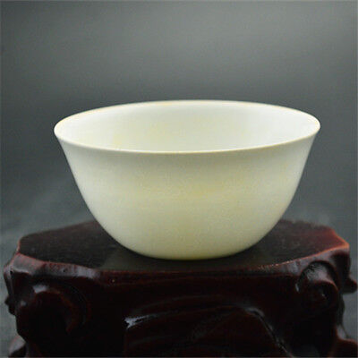 Chinese Old Marked Sweet White Glazed Carved Dragon Thin Porcelain Tea Cup