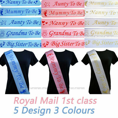 BABY SHOWER SASHES Mummy to be Nanny Aunty Grandma Big Sister to be party sash