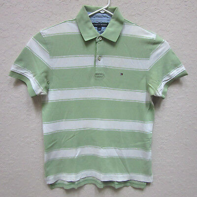 6911c70f Tommy Hilfiger Men's Medium Green White Striped Polo Shirt Cotton Short  Sleeve