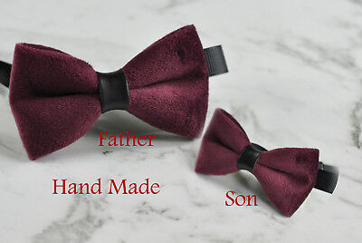 aa0cd927a9f7 Father Son Match Handmade Egg Plant Purple Red Velvet Bow Tie Bowtie Wedding