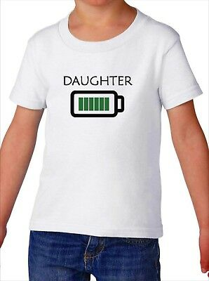 Toddler Daughter Full Battery T Shirt Tired Parents Tee Kids Girl Fully Charged