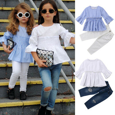US Kids Baby Girl Clothes Outfit Flare T-shirt Tops Dress +Denim Jeans Pants res