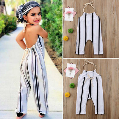 Us Cute Toddler Kid Baby Girls Stripe Summer Romper Jumpsuit Outfit