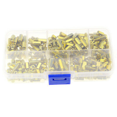 300Pcs M3 Brass Standoff Spacer Hex 3mm Nuts Screw Bolts Pillars Assorted Kit BL