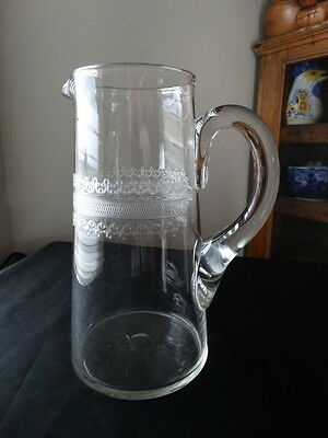 Fostoria Clear Glass 80 oz Large Cloverleaf Etched Jug/Tankard Applied Handle
