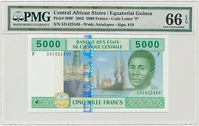3750. Central African States / Equatorial Guinea • 5000 Francs 2002 • PMG 66 EPQ