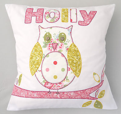 KIDS NAME CUSHION personalised gift owl pillow applique girls childrens for her