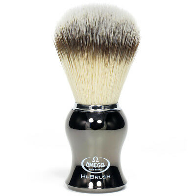 Omega Shaving Brush Premium Black Handle Hand Made Badger Bristle Synthetic