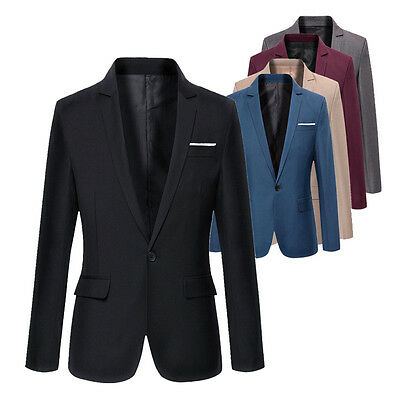 USA Stylish Mens Casual Slim Fit Formal One Button Suit Blazer Coat Jacket wea