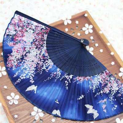 Bamboo Wood Silk Folding Fan Japanese Style Sakura Floral Butterflies Design·