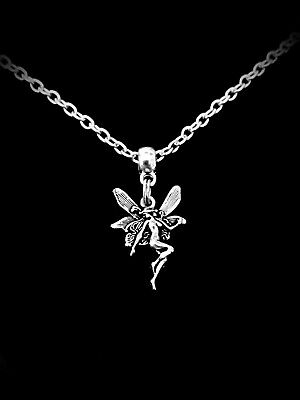 Beautiful Little Girls Silver Plated Charm NECKLACE Enchanted FAIRY Pendant