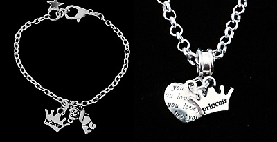 NEW Little Girl's Silver Plated Bracelet Childrens Princess and Bear Pretty Gift