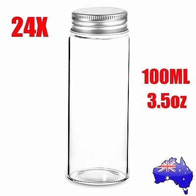 24X 100ml/3.5oz Clear Glass Bottles Vials with Lids Multi Purpose Containers