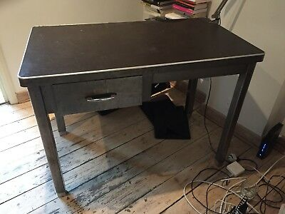 Original Vintage 70's Brushed Steel Desk