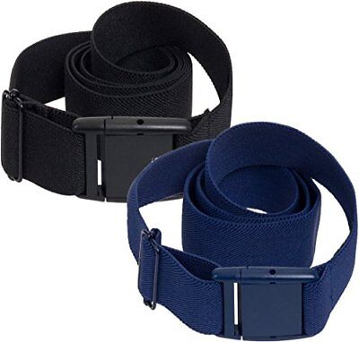 Silver Lilly Womens Invisible Belt - Elastic No Show Belt 2 Pack Black/Blue 0-14