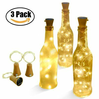 3 Pcs Warm Solar Wine Bottle Cork Shape Lights LED Night Fairy String Light Lamp