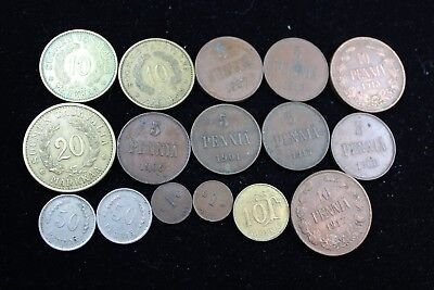 Finland 16 assorted coins   lot H 624